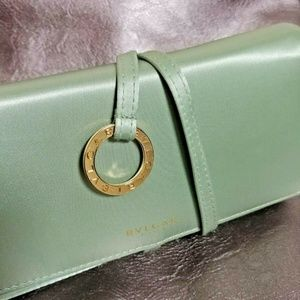 Sage green satin Bvlgari clutch wallet EUC